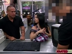Busty Cuban babe Fucked inside the pawn shop office while she is selling her Collection