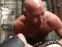 Throated fishnet cunt submitted to rough sex