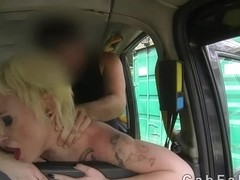 Breasty Spanish chick screwed in British fake taxi
