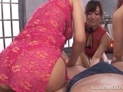 Alluring milfs in fancy pink lingerie ride and suck knob