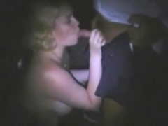 Blonde dogging slut sucks a couple of guys to a cumshot