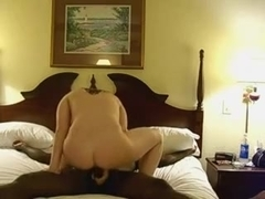 Golden-Haired gf having acrobatic sex with her dark chap