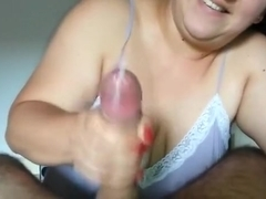 Making my dick explode like a volcano puts a smile on her face