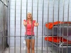 Pretty Golden-Haired In Jail Gives A Darksome Strapon A Great Workout