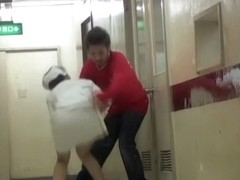 Wild fight between sharking fan and young medical worker