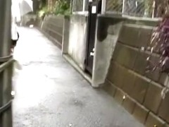 Chubby Japanese babe got a Street Sharking in the rain.