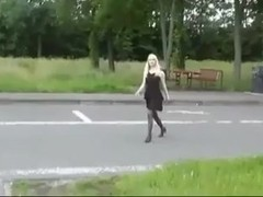 Naughy blonde teases strangers in public
