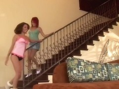 Teens play each other, then a cock arrives