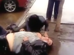 Drunk boss and his crazy secretary on the street