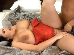 Pretty big brunette girl Carmella Bing with giant tits is getting hotly fucked by her friend with .