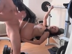 Brunette Wife fucked on Weight Bench