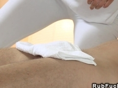 Bare massuse wanks cock after fuck