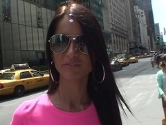 Nessa Devil in hot chick posing topless in a porn travel video