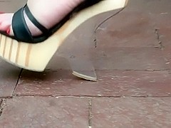 Shoe play in Strappy Wooden Wedges