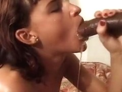 Dark Haired White Chick Sucks Black Cock