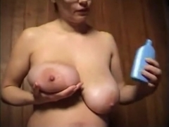 Corpulent Ex Girlfriend playing with her Melons and Unshaved Snatch