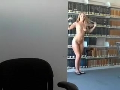 Blonde camgirl library show