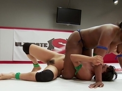 Voluptuous Ebony Rookie takes on skinny rookie with a heart of a fighter