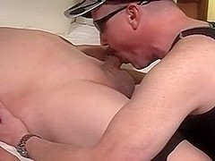 Old hunk gives a gay blowjob to his lover