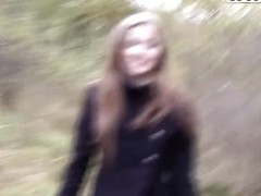 Wonderful teen slut Abi sucks cock for money in the forest