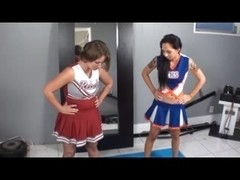 Two cheerleaders make one guy.s fetish dream come true