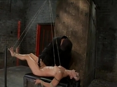 Extreme Predicament BondageHuge Nipples Tied to Toes, How Long Can the Abs Hold Out?