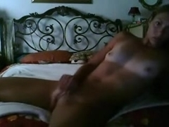 Tanned chick rubbing and toying