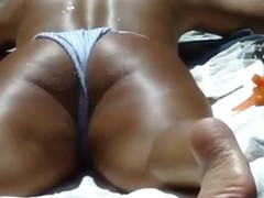 Well tanned neighbor's ass by the pool