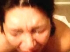 Silly girl catches a big load of warm cum with her face