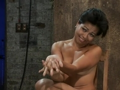 Hot Asian MILF gets suspended, suffers weight on her HIUGE nipples, and is made to cum over and ov.