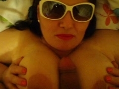 Huge mature posing and sucking cock