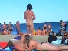 A bunch of nudists have sex on the beach