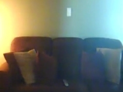 Ponytailed brunette with great ass rides her bf on the sofa