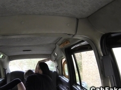 Lovely tattooed Brit fucks in fake taxi