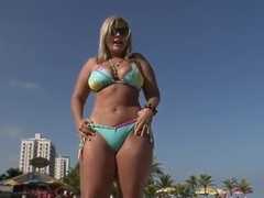 Hot chic Brunna Bulovar picked up by a black dude on a beach