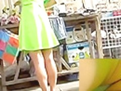Golden-Haired show stopper upskirts outdoors