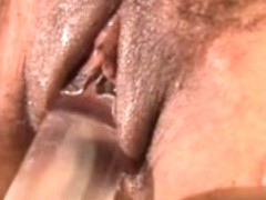 Hot darksome mother I'd like to fuck lubes up her wet pussy and bonks it with