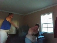 Bbw sucks cock, rides her man, has doggystyle sex and swallows.