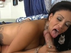Tattooed chick is giving hard time to Dale Dabone