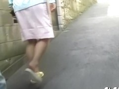 Hot Asian nurse flashes her tight panties during instant public sharking