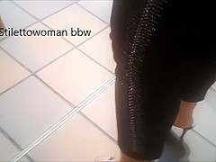 Walking and shopelay with 4 inch Mules 2, Stilettowoman bbw