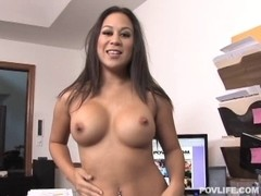 Breasty Oriental giving dong a hard jerk off and receiving its whit
