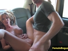 glamourous woman cabbie slammed and orally pleasured