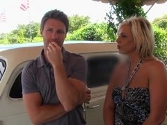 Blond busty MILF was seduced by a horny stud