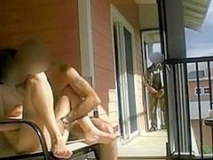 Stranger is jerking while watching couple fucking outdoors