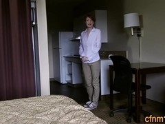 Clothed teen maid jizzed