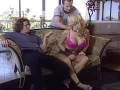 Hotie Blond Slut lBlows Two Lucky Studs