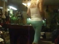 Sexy chubby girl playing pool