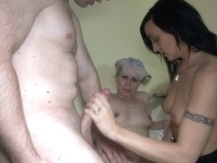 Mature slut Marta plays with younger couple