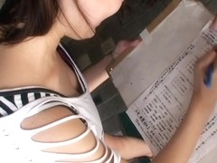 Downblouse Asian cutie prepares for important exams